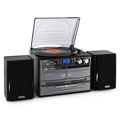 auna TC-386 • Stereoanlage • Kompaktanlage • Plattenspieler • Riemenantrieb • max. 45 U/min • Lautsprecher Paar • Bassreflex • Radiotuner • CD-Player • MP3-fähig • 2 x Kassettendeck • USB-Port • SD-Slot • Digitalisierungsfunktion • Fernbedienung • schwarz