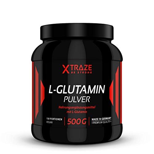 L-Glutamin Pulver 500g – geschmacksneutral hochdosiert vegan 100% rein und ohne Zusatzstoffe - Qualität aus Deutschland - Aminosäure für Kraftsport | Bodybuilding | Fitness