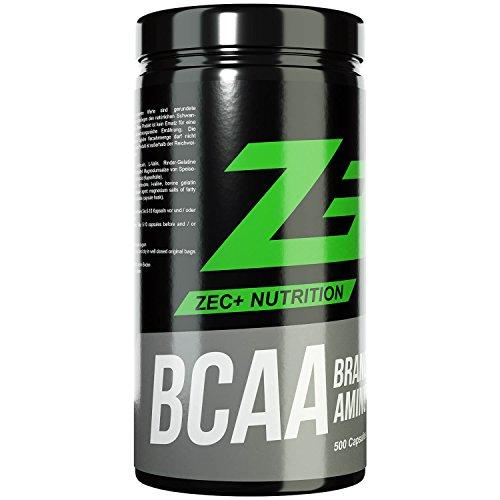 ZEC+ BCAA Kapseln | essentielle Aminosäuren | BCAAs - verzweigtkettige Aminosäuren | L-Leucin, L-Valin, L-Isoleucin im Verhältnis 2:1:1, hochdosiert | 1000 mg pro Kapsel | BULK-Pack 500 Stück