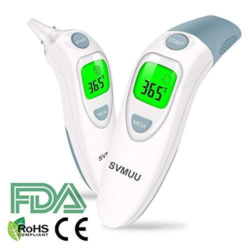 SVMUU Fieberthermometer Stirnthermometer Ohrthermometer, Infrarot Thermometer für Babys, Erwachsene und Objekte,1 Sekunde Messzeit, Speicherfunktion, Hochtemperaturalarm genehmigt (CE) / ROHS/FDA