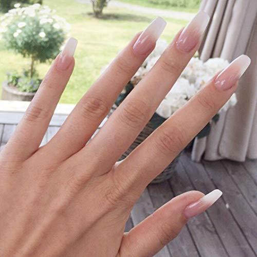 LIARTY Künstliche Nägel 12 verschiedene Größen Milky Coffin Ballerina Falsche Nägel
