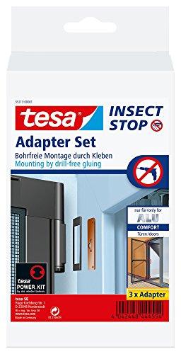 tesa Insect Stop Adapter-Set für ALU COMFORT Fliegengitter für Türen - Klebeadapter ohne Bohren - Klebe Befestigung für Insektenschutz-Tür in Schwarz