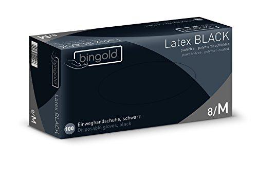 Einmalhandschuhe Latex BLACK puderfrei, Größe M, 100-er Pack