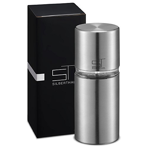 SILBERTHAL Muskatmühle mit integriertem Vorratsbehälter für 6 Nüsse | Muskatnussmühle aus Edelstahl mit Glasfenster | Maße: 7 x 7 x 16