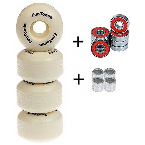 4X FunTomia Rillen-Profil Skateboard Rollen 53x34mm inkl. Mach1 Kugellager / Rollen Ersatzrollen Wheels Härtegrad 100A (Weiß)
