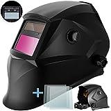 Masko Automatik Schweißhelm + 3x Ersatzgläser | großes Sichtfeld | für alle gängigen Schweißtechniken - Schweißmaske Schweißschirm Solar Schweißschild Schutzhelm | gegen Funken, Strahlungen | Black