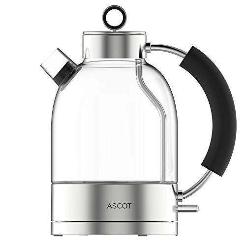 Glas Wasserkocher - Wasserkocher mit schneller Heizung, 1,6L Große Kapazität Glasswasserkocher, 2200W Fast Heating, BPA frei Lebensmittelqualität Teekocher, Trocken geschutz & automatische Abschaltung