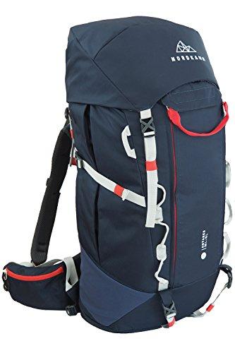NORDKAMM Backpacker Rucksack, Trekking-Rucksack, 50l - 60l, Blau, Damen u. Herren, Reiserucksack, Top- u. Frontlader, für Weltreise, Camping, Outdoor, Backpacking, Verstellbar