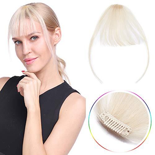 Pony Haarteil Echthaar Extensions Clip in Air Fringe Bangs Natürlich Glatt Weich Haarverlängerung 1 Piece 20cm 3g 60# Platinblond