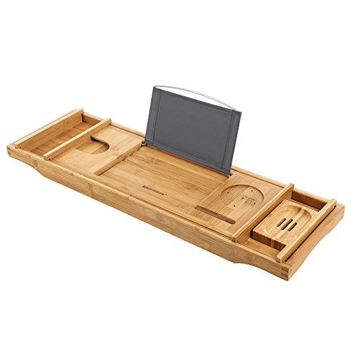 Songmics ausziehbare Badewannenablage aus Bambus verstellbares Badewannenbrett Badewannen Ablagen 75-109 x 4,5 x 23 cm (B x H x T) BCB88Y