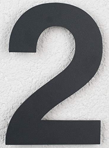 SEM Hausnummer Edelstahl Pulverbeschichtet Anthrazit RAL 7016 16cm 160mm modern (2)