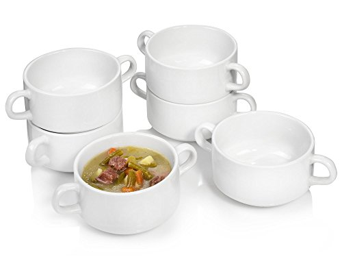 Sänger Suppenschüssel 6er Set aus Porzellan | Füllmenge der Suppenschalen 250 ml | Zeitlose Schalen mit Henkeln | Suppentassen für einfaches Servieren Ihrer Suppen
