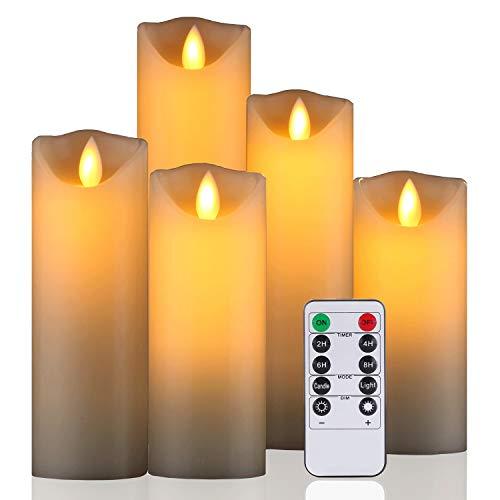 LED Kerzen von Da by, flammenlose Kerze 300 Stunden Batterie Dekorative Kerze 5er Set (14cm, 15.1cm, 16.3cm, 17.7cm, 20cm). Die echt blinkende LED-Flamme ist aus elfenbeinfarbenem Echtwachs gefertigt.