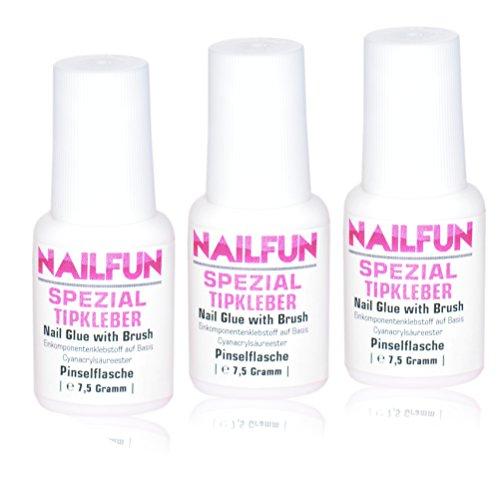 3er Set NAILFUN Tipkleber [3 x 7.5 Gramm] Nagelkleber Flasche mit Pinsel zum einfachen auftragen