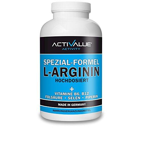 VERGLEICHSSIEGER 2018*: ACTIVALUE L-Arginin Spezial-Formel von Dr.med. Wagner | Hochdosiert | 360 Kapseln | 1 Dose (317 g)