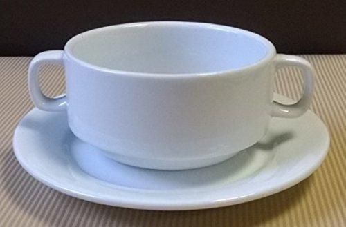 12 Suppentassen 30 cl Gastro Hotelporzellan weiss mit Untertasse