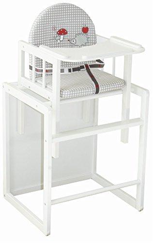 roba Kombi-Hochstuhl, Kinderhochstuhl mit Essbrett wandelbar zu Tisch & Stuhl, Holz Hochstuhl weiß, Sitz gepolstert 'Adam & Eule'