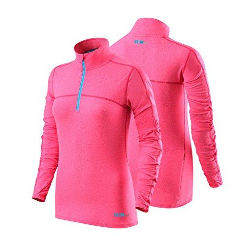 TCA Damen Fusion Quickdry Laufshirt mit Kragen & halbem Reißverschluss - Langarm - Pink, M