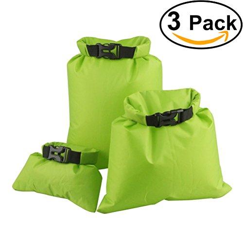 UEETEK 3 Stück / Set Wasserdichte Trockenbeutel,Ultra-light Nylon Packsacks für Camping Bootfahren Kajakfahren Rafting Angeln, ideal zum Speichern von Mobiltelefonen, Kamera, Schuhe, Grün,(1,5 L + 2,5 L + 3,5 L)