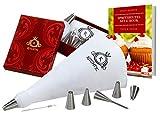 Kitchtic Premium Spritzbeutel-Set, 10-teilig inklusive E-Book, Geschenks Box, Adapter, Baumwolle Spritzbeutel, 6 Edelstahl Spritztüllen, Reinigungsbürste – Tortendekoration, Backzubehör, Sahnebeutel