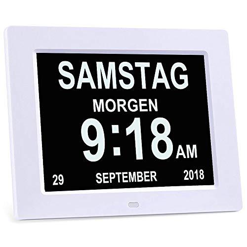 YANSENXING Digitaler Wecker Kalender Tag Uhr für Demenz Gelesen Werden, Weiß, 8 Zoll