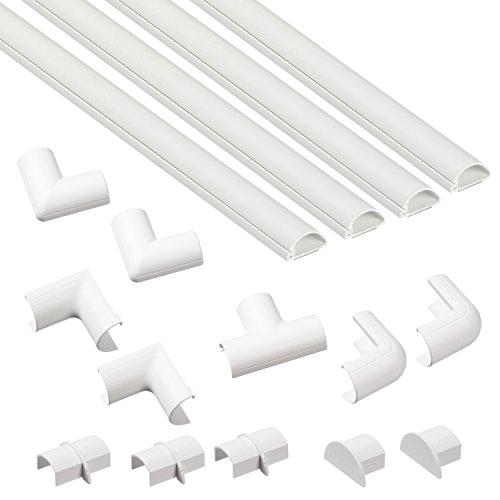 D-Line, Micro+ Kabelkanal-Multipack 20x10 mm, 1 m Länge, Kabelkanal Plus Zubehör, Weiß