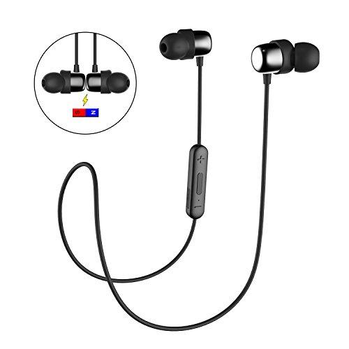 Bluetooth Kopfhörer In Ear HAVIT IPX5 Schweißresistent Stereo magnetischer Sport Ohrhörer, mit 10 Stunden Spielzeit & 10 Meter Reichweite, eingebautes Mikrofon, 2 gleichzeitige Verbindungen auf einmal (I39,Schwarz)