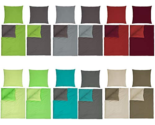 optidream Baumwolle Renforcè Bettwäsche Uni Wende in 2 Größen und 9 Modernen Farbenkombinationen 2tlg. Set 135x200 + 80x80 cm Anthrazit Silber