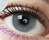 Farbige Kontaktlinsen 3 Monatslinsen hellgrau grau 'Pony Gray' gute Deckkraft ohne Stärke mit Aufbewahrungsbehälter