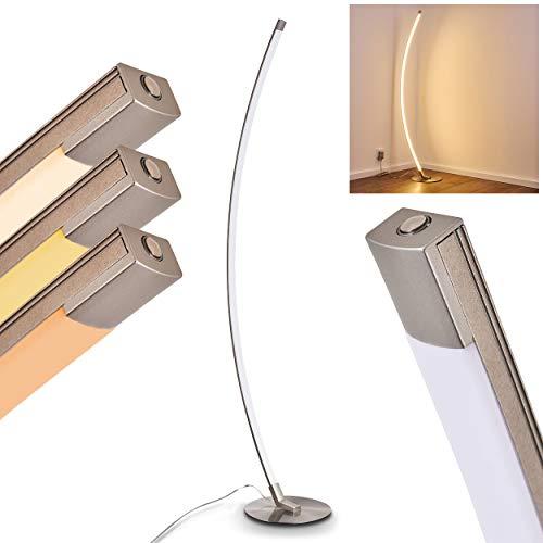 LED Stehleuchte Playa – Moderne Stehlampe aus Metall in Nickel matt mit gebogenem Lampenschirm – Bodenlampe im außergewöhnlichen Design– 3000 Kelvin – 800 Lumen – mit Touchdimmer - 25.000 Stunde