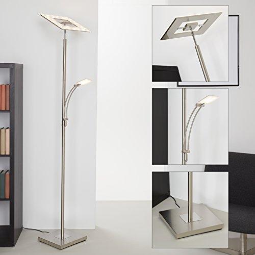 Briloner Leuchten LED Stehlampe dimmbar, Wohnzimmerlampe integrierte Leselampe, Stehleuchte schwenkbarer Deckenfluter-Kopf & Touchdimmer, 21 W + 3.5 W