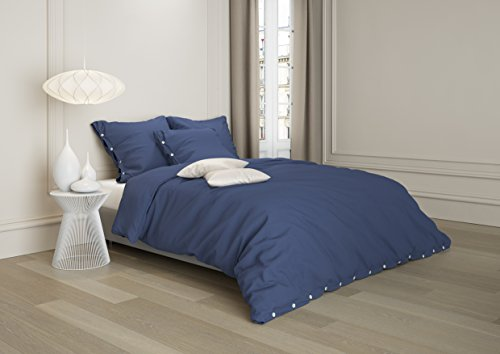 Aminata Premium Leinen-Bettwäsche 135x200 cm 60% Leinen + 40% Baumwolle + Knöpfe in Blau Dunkelblau | Made in Europe | Einfarbige Leinen Bettwäsche Knopfleiste Natur Vintage Bettbezug Bettwäsche-Set