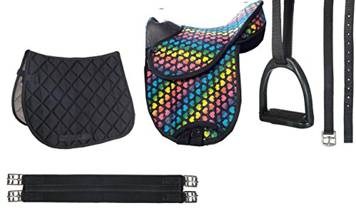 HKM Shettysattel-Set -Colourful-, Heart/Black, 12'