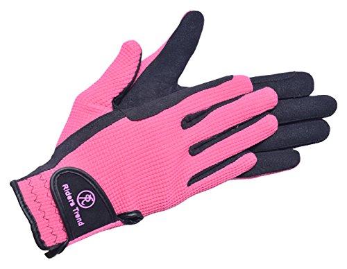Riders Trend Unisex Reithandschuhe aus Amara/Baumwolle, unisex, Amara/Cotton Horse, schwarz / rosa