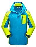 Echinodon [Kinder 3-in-1 Jacke] Jungen Mädchen Wasserdichte Funktionsjacke + warme Fleecejacke Outdoorjacke Winter Hellblau 160