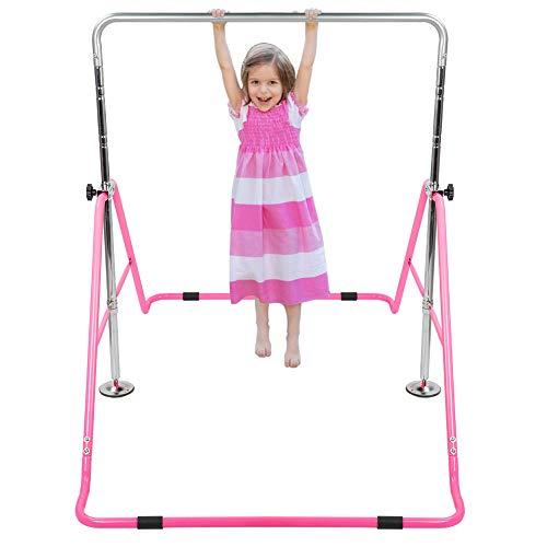 Greensen Turnreck Kinder Junior Turnstangen Garten Kinder Turnstangen Höhenverstellbar Training Bar Faltbar Trainingsgeräte Home Outdoor Pink