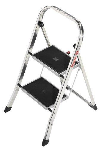 Hailo K30, Alu-Klapptritt, 2 Stufen, Sicherheitsbügel, Klappsicherung, besonders leicht, einfach zu verstauen, belastbar bis 150 kg, 4392-801