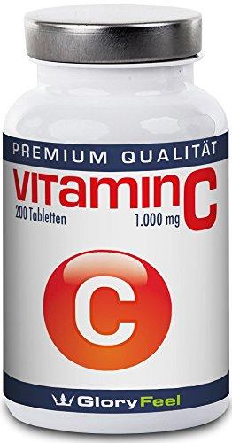 Vitamin C Hochdosiert 1000 mg - Der VERGLEICHSSIEGER 2017* - 200 Tabletten für bis zu 7 Monate - 1000mg reines Vitamin C pro Veganer Tablette Ohne Magnesiumstearate - Nahrungsergänzung von GloryFeel