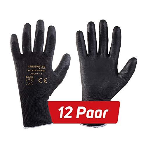 12 Paar AGENT25 Montagehandschuhe Arbeitshandschuhe Gartenhandschuhe Gr. 6-12 Schutzhandschuhe gegen mechanische Risiken (PU, 9)