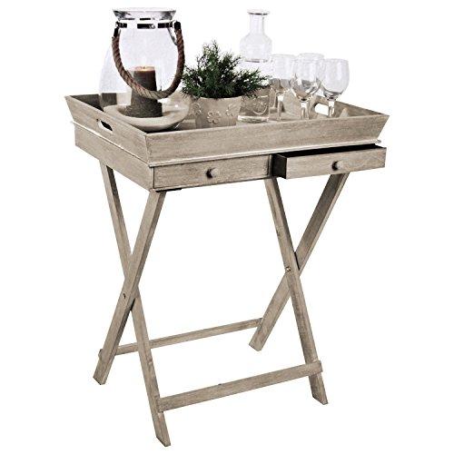Wohaga Serviertisch 'Breakfast' Tablett-Tisch mit 2 Schubladen und Gestell Serviertisch Beistelltisch Serviertablett abnehmbar Landhaus Stil