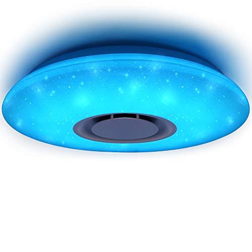HOREVO 36W Sternenhimmel LED Deckenleuchte mit Fernbedienung Dimmbar Speicherfunktion RGB, Bluetooth Lautsprecher Musik Deckenlampe, [APP Kontrolle mit 2.4G Fernbedienung ] [ Ø50cm Dimmbar ], Fit für Kinderzimmer Schlafzimmer Kinder Geschenk ( CE-zertifiziert )