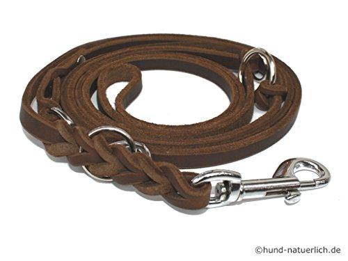 Lederleine Hund 3-fach verstellbar geflochten, braun verchromt Fettleder Führleine (3m x 15mm)