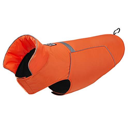 GWELL Hund Regenjacke Reflektierende 100% Wasserdichte Hundejacke mit Fleece Regenmantel Warnweste Hundebekleidung für kleinen großen Hund Orange 2XL