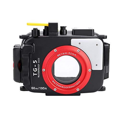 Elerose 60m / 195ft wasserdicht Unterwassergehäuse Pro Tauchen für Olympus TG4 / TG5 52-67mm Objektiv Kamera(Olympus TG5)