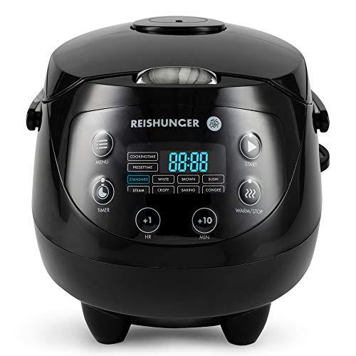 Digitaler Reishunger Mini Reiskocher (0,6l/350W/220V) Multikocher mit 8 Programmen, 7-Phasen-Technologie, Premium-Innentopf, Timer- und Warmhaltefunktion - Reis für bis zu 3 Personen