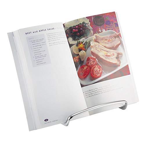 mDesign Kochbuchhalter für die Arbeitsfläche - auch als Tellerständer oder zum Aufstellen von Bildern nutzbar- eleganter Kochbuchständer - Farbe: Silber