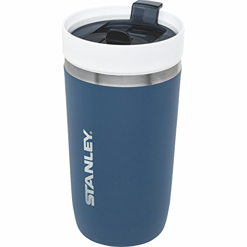 Stanley GO Ceramivac Thermo-Trinkbecher mit Keramik-Beschichtung, 0.47 L, tungsten-blau, Doppelwandig, Vakuumisoliert, Deckel verschließbar, Thermobecher Isolierbecher Kaffeebecher