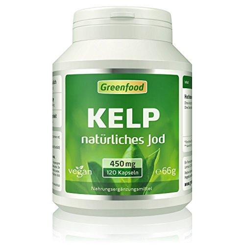 Kelp, 450 mg, 120 Vegi-Kapseln – natürliches Jod (Tagesbedarf)aus der Braunalge. Wichtig für Schilddrüse, Hormonhaushalt und Nervensystem. OHNE künstliche Zusätze, ohne Gentechnik. Vegan.