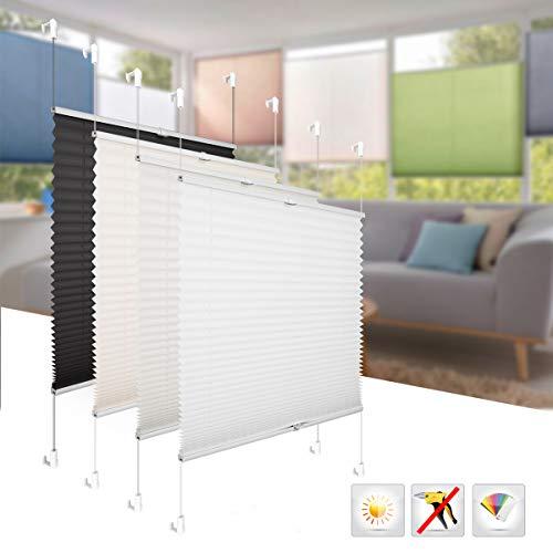 BelleMax Plissee ohne Bohren Jalousie Blickdicht Faltrollo Sichtschutz und Sonnenschutz Schalosien für Fenster & Tür Weiß 55 x 100 cm(BxH)