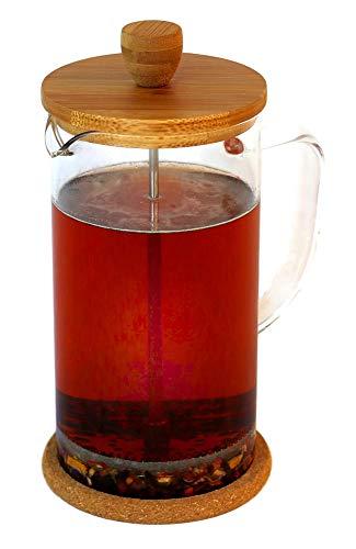 """Buntfink """"FrenchPress"""" Tee- und Kaffeebereiter mit Frech Press System, aus Edelstahl, Bambus und Borosilikatglas, für 1 Liter Tee/Kaffee, mit Löffel und 2 Extra Filtern, Größe: 1l"""